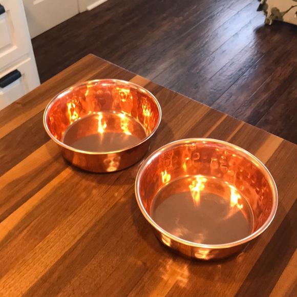 NWOT: 2 copper colored dog bowls